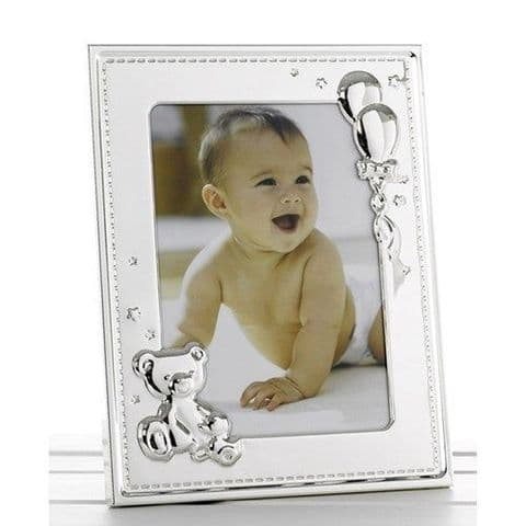 Polished Silver Teddy Balloons Baby Child Photo Frame 5x7